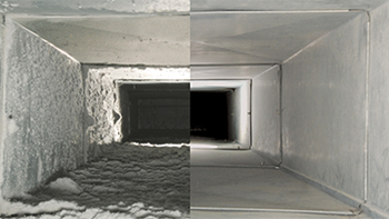 Air duct cleaning - Before & After Picture.